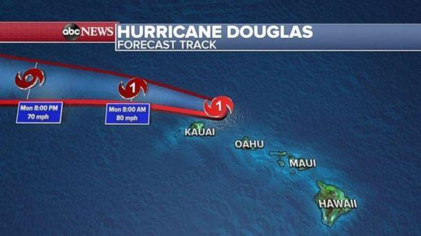 PHOTO: The forecast track takes the eye of Douglas just north of Kauai in the next six to 12 hours, bringing gusty winds, flooding rain and life threatening surf with some minor damage possible on the island. (ABC News)