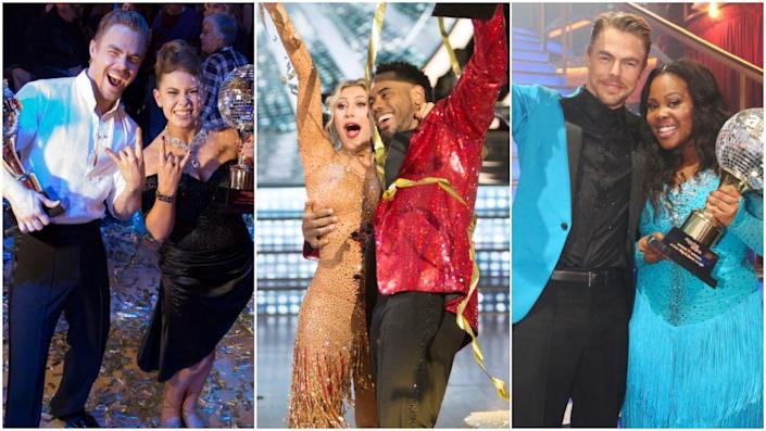 """<p>At this point, <em><a href=""""https://www.cosmopolitan.com/entertainment/tv/a33821177/dancing-with-the-stars-season-29-cast-premiere/"""" rel=""""nofollow noopener"""" target=""""_blank"""" data-ylk=""""slk:Dancing with the Stars"""" class=""""link rapid-noclick-resp"""">Dancing with the Stars</a></em> has been on for a frightening amount of time—season 30 premieres tonight!—meaning a truly shocking number of """"famous"""" """"celebrities"""" have wrapped themselves in stretchy glitter onesies and pirouetted their way around that hallowed ballroom while regretting all their life choices, deep in contemplation about firing their agent. In addition to whatever poor soul wins <a href=""""https://www.cosmopolitan.com/entertainment/tv/a37221140/dancing-with-the-stars-cast-2021/"""" rel=""""nofollow noopener"""" target=""""_blank"""" data-ylk=""""slk:Dancing with the Stars Season 30"""" class=""""link rapid-noclick-resp""""><em>Dancing with the Stars </em>Season 30</a>, <em>29 </em>stars have already taken home the coveted Mirror Ball Trophy—ranging from people only your mom could pick out of an early '90s lineup to some pretty famous faces, including <em>several</em> former Olympians and <em>Bachelor</em>/<em>Bachelorette</em> stars. </p><p>Here, we're taking a look back at allllllllll the <em>Dancing with the Stars</em> winners throughout history. And hey, while we're on the subject of this beloved show, quick reminder: The new season of <em>DWTS</em> is set to air tonight on ABC at 8 p.m. ET. Contestants include a former <em>Bachelor, </em>a Spice Girl, a NBA player, an Olympic gold medalist, and <a href=""""https://www.cosmopolitan.com/entertainment/tv/a37221140/dancing-with-the-stars-cast-2021/"""" rel=""""nofollow noopener"""" target=""""_blank"""" data-ylk=""""slk:a buuunch of others"""" class=""""link rapid-noclick-resp"""">a buuunch of others </a>so...get excited. </p>"""