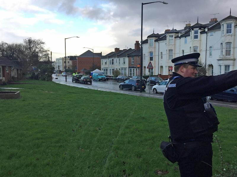 The scene at Tachbrook Road in Leamington Spa, Warwickshire, where a man has been confirmed dead and another seriously injured after a double stabbing on Wednesday: PA