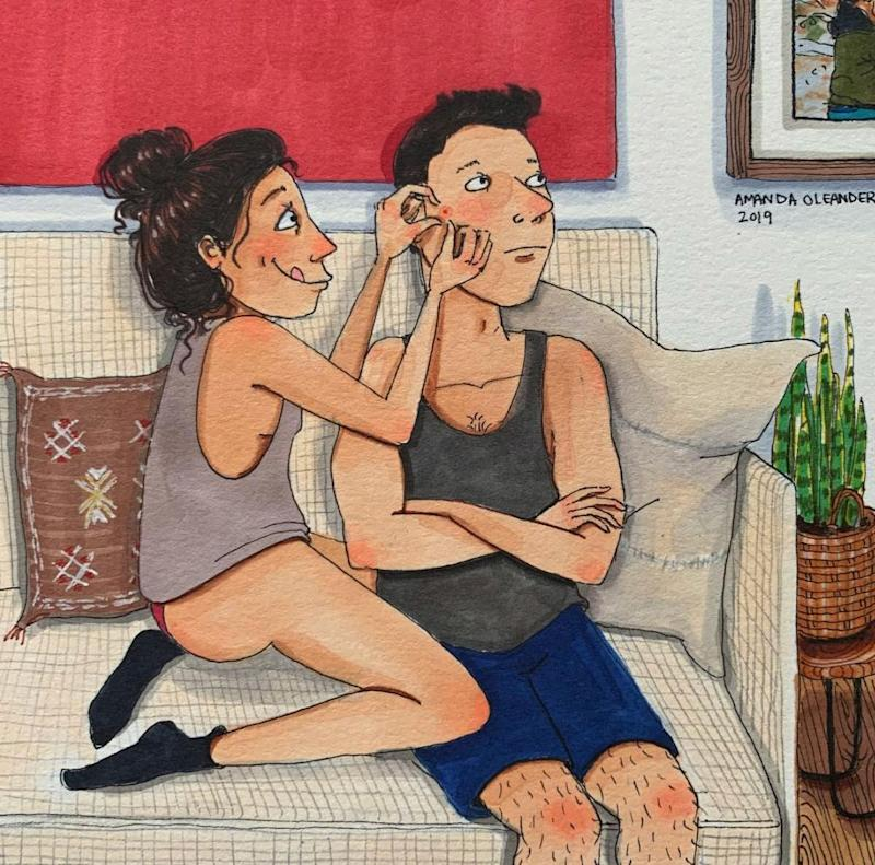 "Love is popping your partner's pimple.&nbsp; (Photo: <a href=""https://www.instagram.com/p/BtY9MVGBGH_/"" target=""_blank"">Amanda Oleander</a>)"