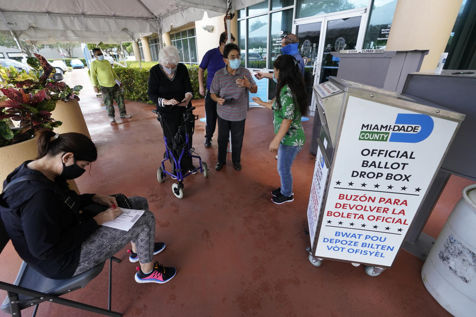 Voters prepare to turn in their mail-in ballots, Tuesday, Oct. 6, 2020, at the Miami-Dade County Elections Department in Doral, Fla. Florida Gov. Ron DeSantis extended the state's voter registration deadline after heavy traffic crashed the state's online system and potentially prevented thousands of enrolling to cast ballots in next month's presidential election. (AP Photo/Wilfredo Lee)