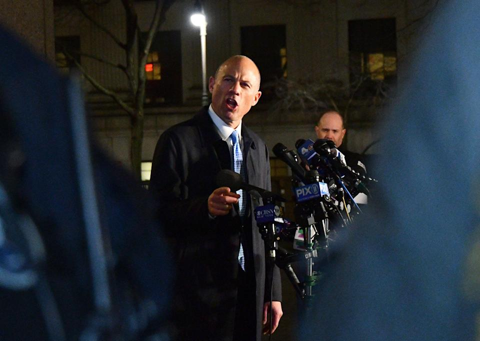 Michael Avenatti, attorney and founding partner of Eagan Avenatti LP, speaks to members of the media outside the federal court in New York, U.S., on Monday, March 25, 2019. Avenatti was charged by federal prosecutors on both coasts, accused in New York of trying to extort millions of dollars from Nike Inc. and in Los Angeles of embezzling money from a client and defrauding a bank. Photographer: Louis Lanzano/Bloomberg via Getty Images
