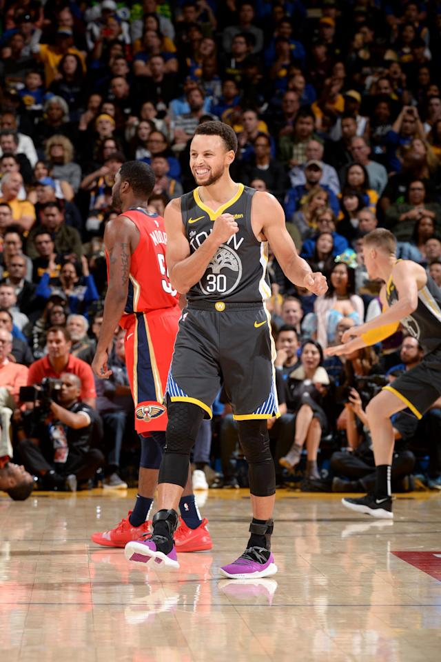 OAKLAND, CA - OCTOBER 31: Stephen Curry #30 of the Golden State Warriors reacts to a play during the game against the New Orleans Pelicans on October 31, 2018 at ORACLE Arena in Oakland, California. (Photo by Noah Graham/NBAE via Getty Images)