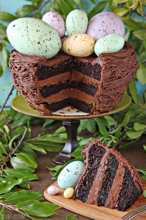 """<p>If you <em>need</em> your chocolate fix, just add spring colors on top with speckled eggs.</p><p>Get the recipe from <a href=""""http://www.sugarhero.com/easter-nest-cake/#_a5y_p=3569981"""" rel=""""nofollow noopener"""" target=""""_blank"""" data-ylk=""""slk:Sugar Hero"""" class=""""link rapid-noclick-resp"""">Sugar Hero</a>.</p>"""