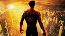 """<p> Released soon after 9/11 and set in New York, it's almost inconceivable that Spider-Man wouldn't carry some sort of political weight in the wake of such a catastrophic event. In fact, with a character and a city so intertwined, ignoring it would have come across as callous. Several changes were made to the film's promotional materials in reaction to the attacks, removing images of the World Trade Centre. </p> <p> Director Sam Raimi also added a scene after shooting finished, depicting a group of people helping out Spider-Man by throwing objects at the Green Goblin and shouting: """"You mess with one of us, you mess with all of us"""" in tribute to the people of New York. </p>"""