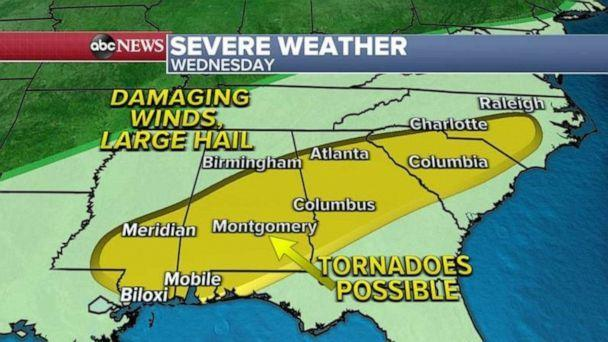 PHOTO: Severe weather is expected from Mississippi to North Carolina Wednesday, but the biggest threat for tornadoes will be in Alabama. (ABC News)