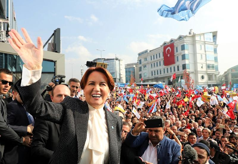 Pollster Gezici, whose pre-referendum poll was near accurate, said last month that Aksener's party could get 19.5 percent of the vote (AFP Photo/ADEM ALTAN)