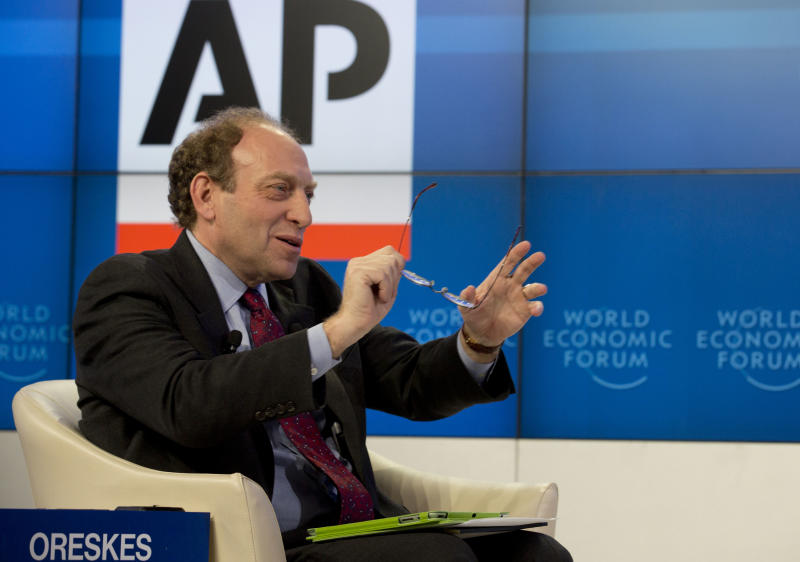 Michael Oreskes, Vice-President and Senior Managing Editor at the Associated Press (AP) moderates the session 'Creating Economic Dynamism'  at the 43rd Annual Meeting of the World Economic Forum, WEF, in Davos, Switzerland, Friday, Jan. 25, 2013.  (AP Photo/Anja Niedringhaus)