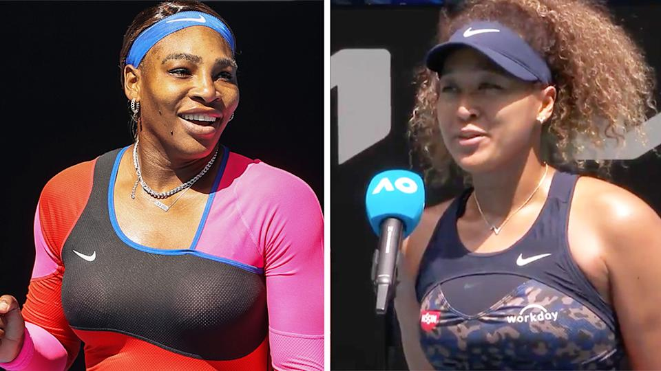 Naomi Osaka (pictured right) during her post match interview and Serena Williams (pictured left) celebrating after her win.