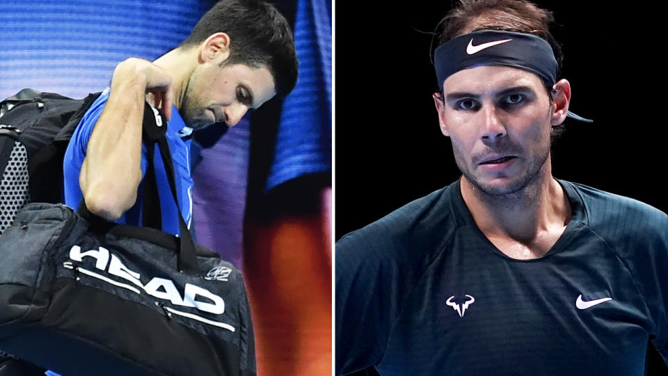 Novak Djokovic and Rafael Nadal, pictured here after losing in the semi-finals at the ATP Finals.
