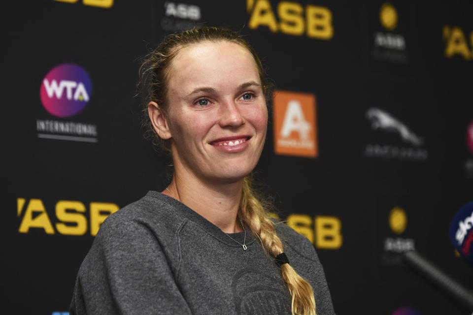 Denmark's Caroline Wozniacki talks to media after losing her semifinal match against United States' Jessica Pegula at the ASB Classic in Auckland, New Zealand, Saturday, Jan 11, 2020. (Chris Symes/Photosport via AP)