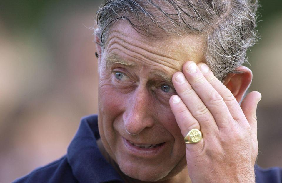"""<p>For decades, Prince Charles has regularly worn his signature signet pinky ring. Here, he wore it to a charity polo match in July 2002. </p><p><strong>More:</strong> <a href=""""https://www.townandcountrymag.com/style/jewelry-and-watches/a36664150/signet-ring-royal-family-history/"""" rel=""""nofollow noopener"""" target=""""_blank"""" data-ylk=""""slk:Royals Wearing Signet Rings"""" class=""""link rapid-noclick-resp"""">Royals Wearing Signet Rings</a> </p>"""