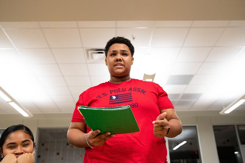 """Refugio High School senior Levander Vauntae LaFond gives a statement in favor of discontinuing """"Dixie"""" as the school's fight song during public comment at a special meeting on Tuesday, Jan. 14, 2020."""