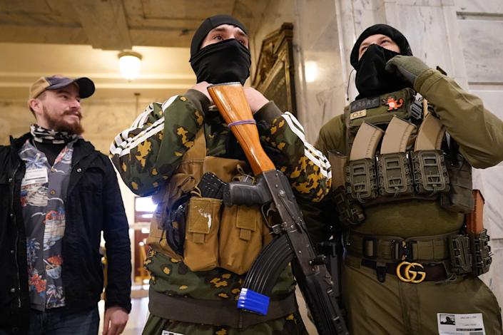 Gun rights activists in the rotunda of the Capitol in Frankfort, Kentucky. (Photo: Bryan Woolston via Getty Images)