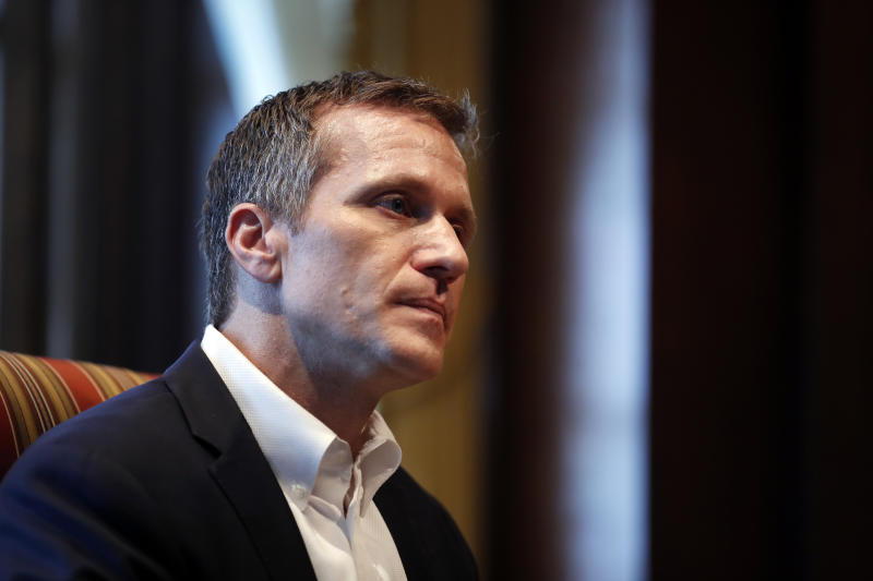 Missouri Gov. Eric Greitens listens to a question during an interview in his office at the Missouri Capitol Saturday, Jan. 20, 2018, in Jefferson City, Mo. Greitens discussed having an extramarital affair in 2015 before taking office. (AP Photo/Jeff Roberson)
