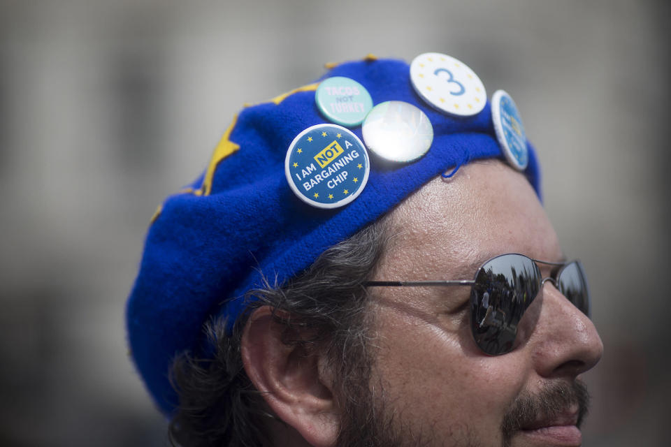 The People's Vote: A protester listens to speeches during a demonstration against Brexit in London. Photo: Simon Dawson/Getty Images.