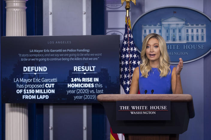 White House press secretary Kayleigh McEnany during a press briefing at the White House on Tuesday. (AP Photo/Alex Brandon)