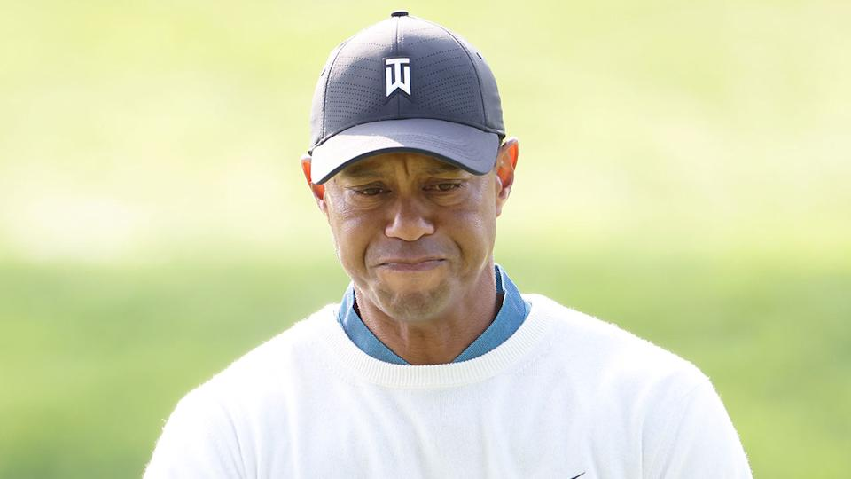 Seen here, Tiger Woods looks on in dismay during the second round of the US Open.