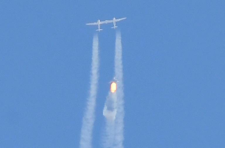 Billionaire Richard Branson took off for the edge of space -- here, the spaceship Unity separates from the carrier plane