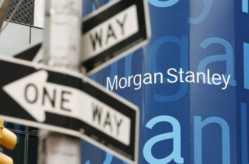 FILE PHOTO: A street sign stands near the Morgan Stanley worldwide headquarters building in New York