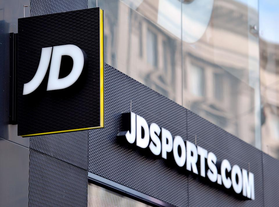 "File photo dated 06/01/16 of a shop sign for JD Sports in central London. The chain has warned that retail footfall remains ""weak"" as cost rises caused by higher online sales weighed down on half-year profits."