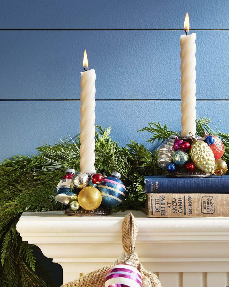"""<p>Add bling to a mantel or holiday table by cover candlestick with vintage Shiny Brites.</p><p><strong>To make: </strong>Hot-glue ornaments in assorted sizes to silver or glass candlesticks.</p><p><a class=""""link rapid-noclick-resp"""" href=""""https://go.redirectingat.com?id=74968X1596630&url=https%3A%2F%2Fwww.etsy.com%2Fsearch%3Fq%3Dshiny%2Bbrite&sref=https%3A%2F%2Fwww.countryliving.com%2Fdiy-crafts%2Ftips%2Fg645%2Fcrafty-christmas-presents-ideas%2F"""" rel=""""nofollow noopener"""" target=""""_blank"""" data-ylk=""""slk:SHOP SHINY BRITES"""">SHOP SHINY BRITES</a></p>"""