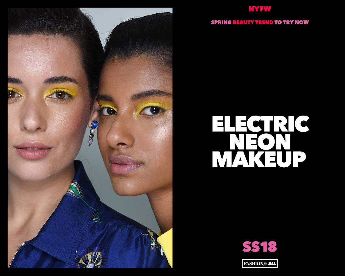 <p>Electric neon makeup made a bold statement on the runways at New York Fashion Week. (Photo: NARS) </p>