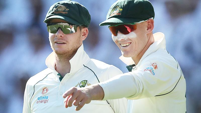 Steve Smith and Marnus Labuschagne, pictured here in action at the Gabba in 2019.