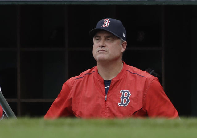"Boston Red Sox manager John Farrell watches from the dugout during the second inning in Game 3 of baseball's American League Division Series against the <a class=""link rapid-noclick-resp"" href=""/mlb/teams/hou/"" data-ylk=""slk:Houston Astros"">Houston Astros</a>, Sunday, Oct. 8, 2017, in Boston. (AP Photo)"