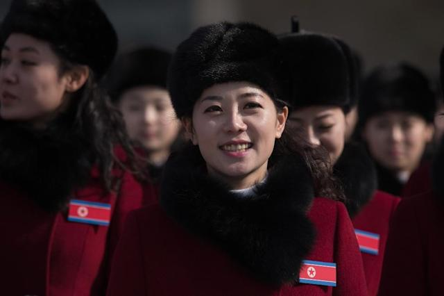 Pyongyang is on an Olympics-linked publicity drive and has sent a troupe of performers, hundreds of female cheerleaders, and the sister of leader Kim Jong-Un to the South (AFP Photo/Ed JONES)