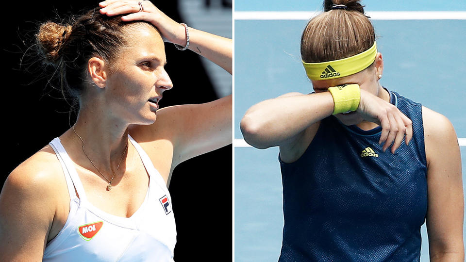 Karolina Pliskova and Karolina Muchova, pictured here during their clash at the Australian Open.