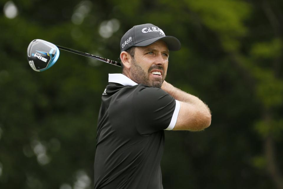 Charl Schwartzel, of South Africa, watches his tee shot on the second hole during the final round of the AT&T Byron Nelson golf tournament in McKinney, Texas, Sunday, May 16, 2021. (AP Photo/Ray Carlin)
