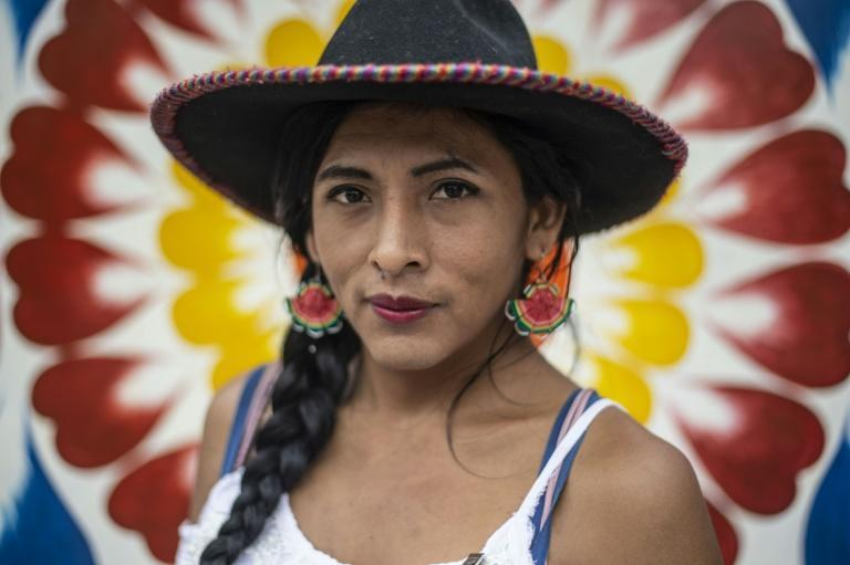 Gahela Cari hopes to become the first indigenous transgender person elected to the Peruvian Congress (AFP Photo/Ernesto BENAVIDES)