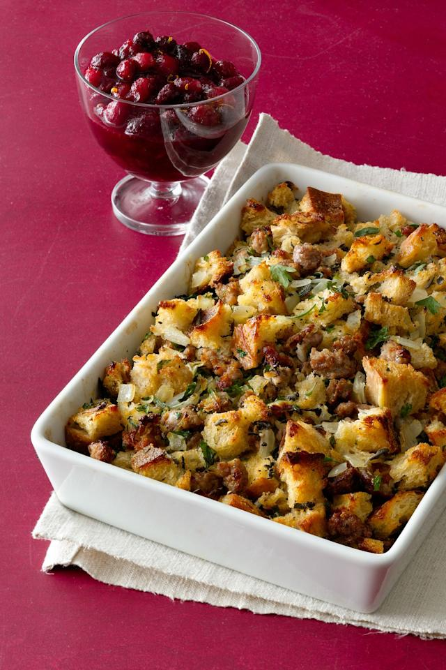 "<p>If you're looking for a stuffing to cook separate from the bird, adding sausage and herbs makes it flavorful enough to stand on its own.</p><p><a rel=""nofollow"" href=""https://www.womansday.com/food-recipes/food-drinks/recipes/a11642/sausage-herb-stuffing-recipe-wdy1112/""><strong>Get the recipe.</strong></a></p>"