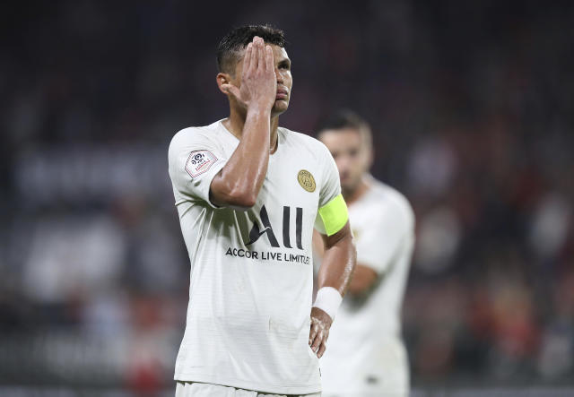 PSG's Thiago Silva gestures after the French League One soccer match between Rennes and Paris Saint Germain, in Rennes, Sunday, Aug. 18, 2019. Rennes won the match 2-1. (AP Photo/David Vincent)