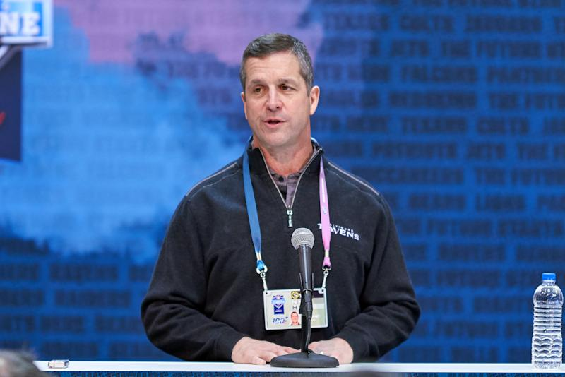 Baltimore Ravens head coach John Harbaugh defended Baltimore on Monday. (Getty Images)
