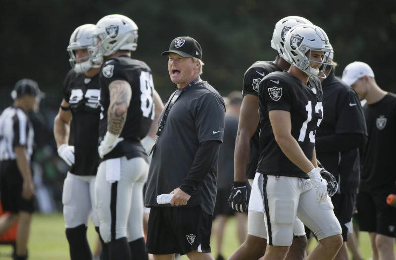 Oakland Raiders head coach Jon Gruden yells during NFL football training camp Wednesday, Aug. 7, 2019, in Napa, Calif. Both the Oakland Raiders and the Los Angeles Rams held a joint practice before their upcoming preseason game on Saturday. (AP Photo/Eric Risberg)