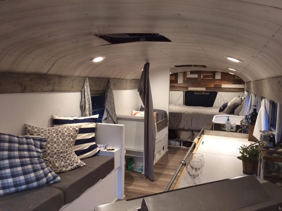 <p>The 28ft x 8ft bus now boasts solar panels, a composting toilet, a working kitchen, a wood-burning stove and a bath tub big enough for two people. [Picture: SWNS] </p>
