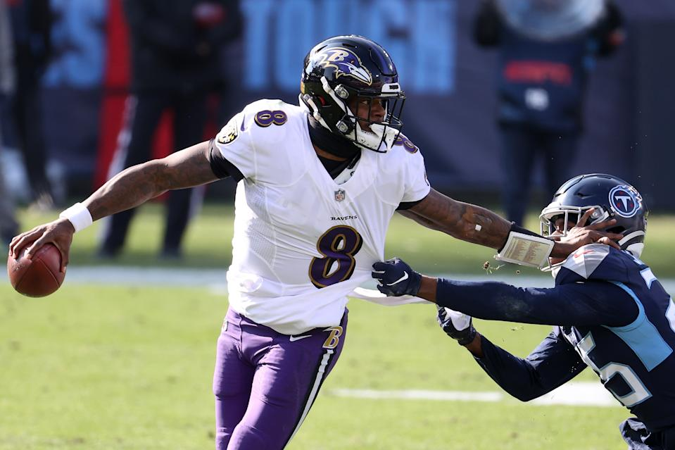 Ravens quarterback Lamar Jackson wasn't about to lose to the Titans again, especially in the playoffs. (Photo by Andy Lyons/Getty Images)