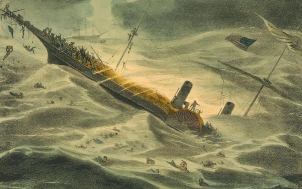 The SS Central America sank carrying 578 people and 30,000 pounds of gold