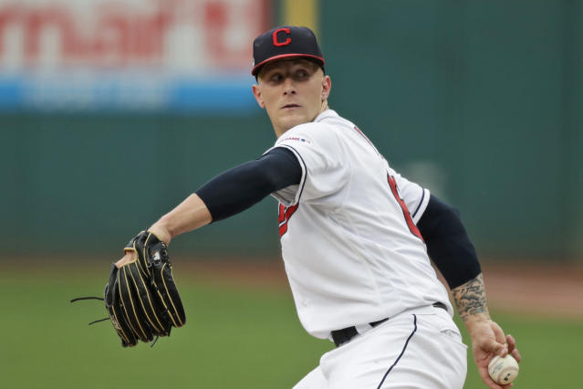 Cleveland Indians starting pitcher Zach Plesac delivers in the first inning of a baseball game against the Boston Red Sox, Monday, Aug. 12, 2019, in Cleveland. (AP Photo/Tony Dejak)