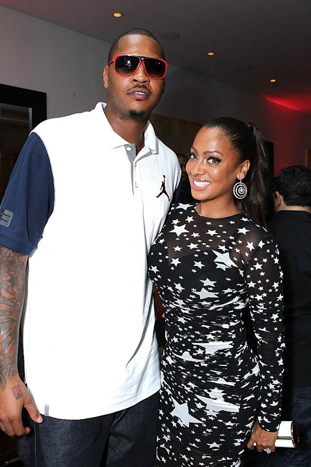 """La La Vazquez and her NBA hubby of little more than a year, Carmelo Anthony, toasted her new VH1 reality series, """"La La's Full Court Life,"""" at The Mark in Los Angeles on Thursday. The honoree stepped out in a sheer, star-patterned dress from Dolce & Gabbana, while her guy kept it casual. Alexandra Wyman/<a href=""""http://www.wireimage.com"""" target=""""new"""">WireImage.com</a> - August 18, 2011"""