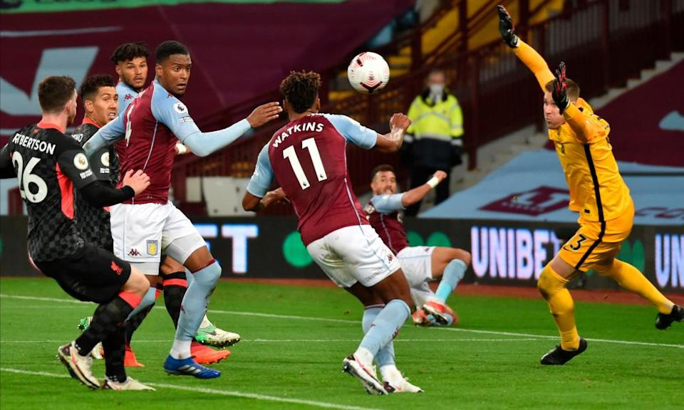 Ollie Watkins scores one of his three goals during Aston Villa's astonishing 7-2 win over the champions Liverpool at Villa Park earlier this month.