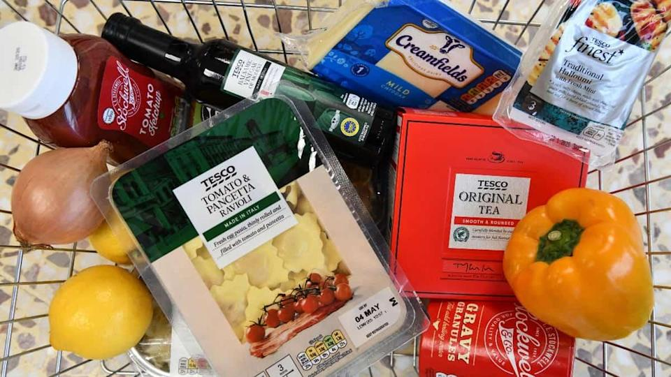 A shopping basket filled with Tesco own-brand goods