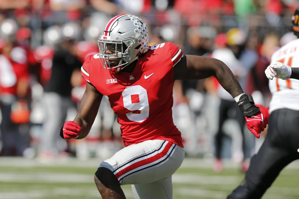 Ohio State defensive lineman Zach Harrison plays against Maryland during an NCAA college football game Saturday, Oct. 9, 2021, in Columbus, Ohio. (AP Photo/Jay LaPrete)