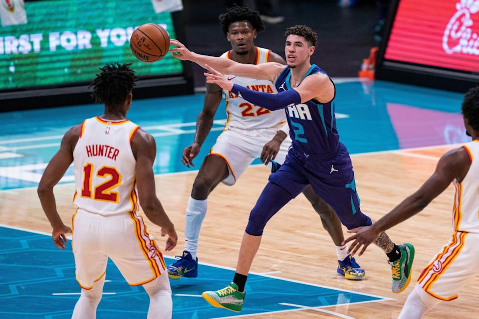 "Charlotte rookie LaMelo Ball has excelled at the passing game, helping the Hornets to possible top 4 playoff seed in the Eastern Conference. ""His playmaking, passing ability and vision is very contagious,"" Hornets coach James Borrego said."