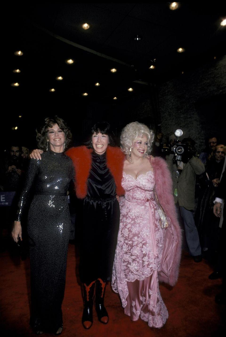 """<p>While Dolly Parton had released more than a dozen albums before 1980's """"9 to 5,"""" this was her first movie role. For the premiere, Dolly hired costume designer Ann Roth to create a red carpet-worthy gown. Dolly <a href=""""https://people.com/style/dolly-parton-breaks-down-her-most-iconic-fashion-moments/"""" rel=""""nofollow noopener"""" target=""""_blank"""" data-ylk=""""slk:told People"""" class=""""link rapid-noclick-resp"""">told <em>People</em></a> that this was the first time she truly felt fashionable after nearly 15 years of limelight.</p>"""