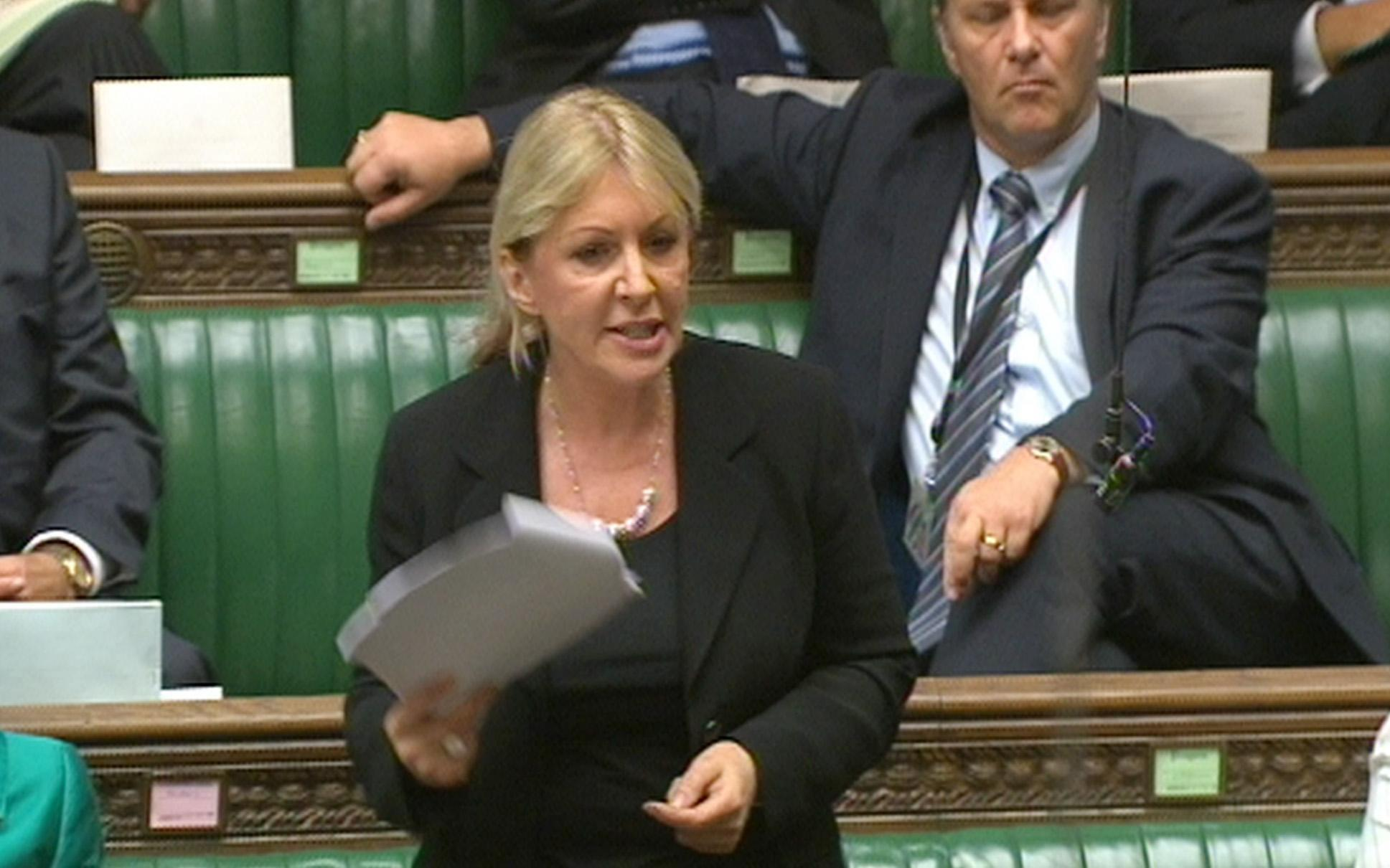Conservative backbencher Nadine Dorries speaks in the House of Commons, London, during a debate over plans to bar abortion providers from giving advice to pregnant women.