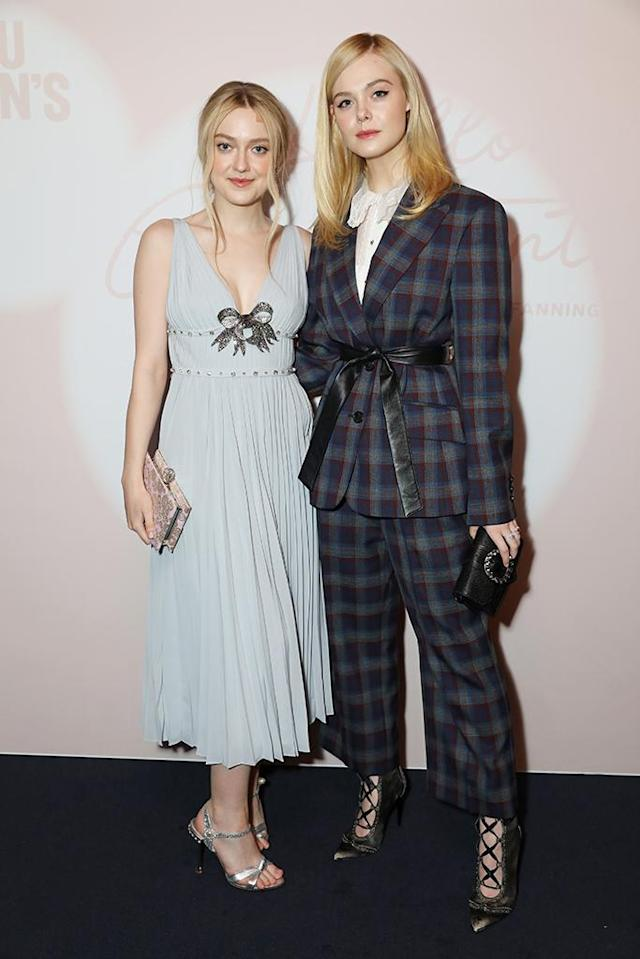 <p>The stylin' sisters looked like quite the pretty pair on Monday at Miu Miu Women's Tales #15 Screening at the Curzon Mayfair in London. (Photo: David M. Benett/Dave Benett/Getty Images for Miu Miu) </p>