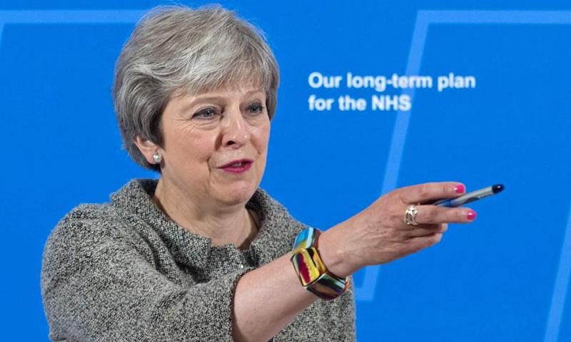 Theresa May speaks at the Royal Free Hospital in London on 18 June 2018